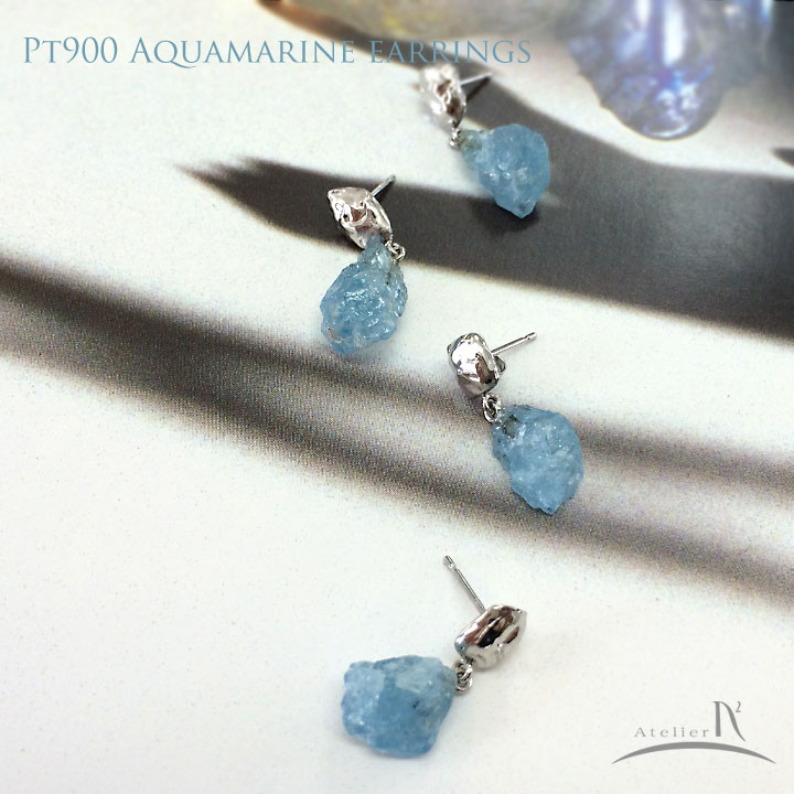 Pt900 アクアマリン ピアス